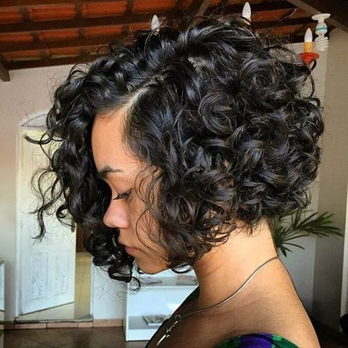 chin-length curly bob hairstyle