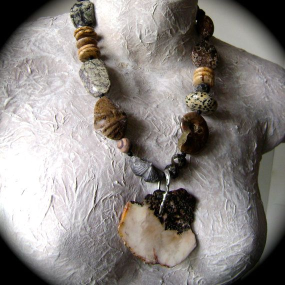 Treasures Abound fossil jewelry stone necklace by anvilartifacts