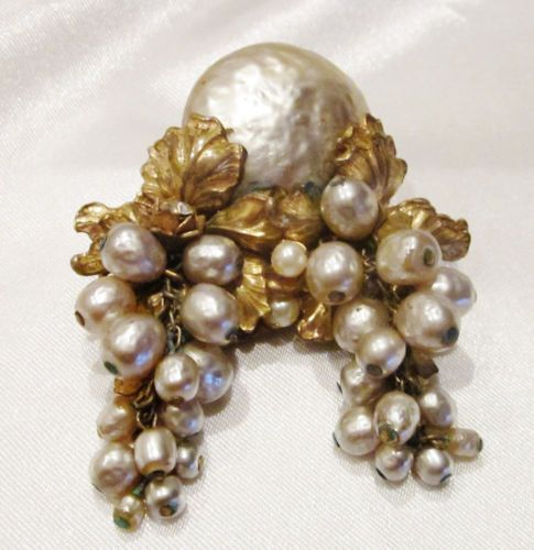 Vintage Signed Miriam Haskell Brooch Faux Baroque Pearls Gold Leaves Filigree | eBay