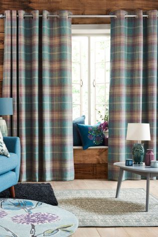 Buy Woven Stirling Check Eyelet Curtains from the Next UK online shop
