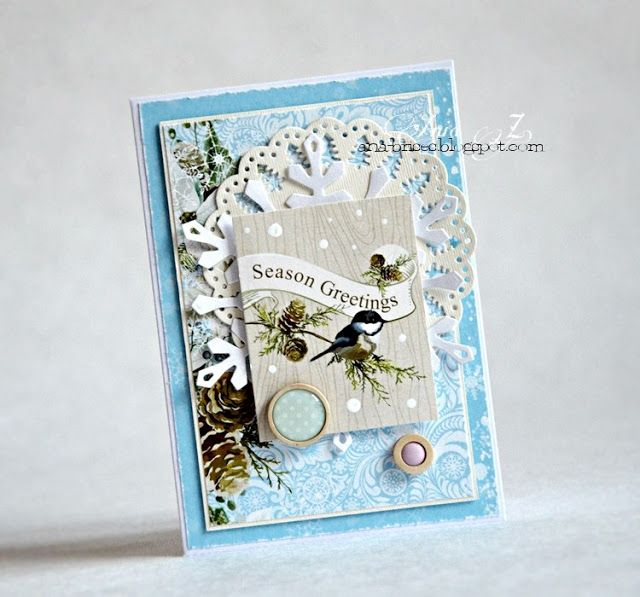 ScrapBerry's: gorgeous handmade Christmas card by Anna Zaprzelska in a wonderful shabby chic style.