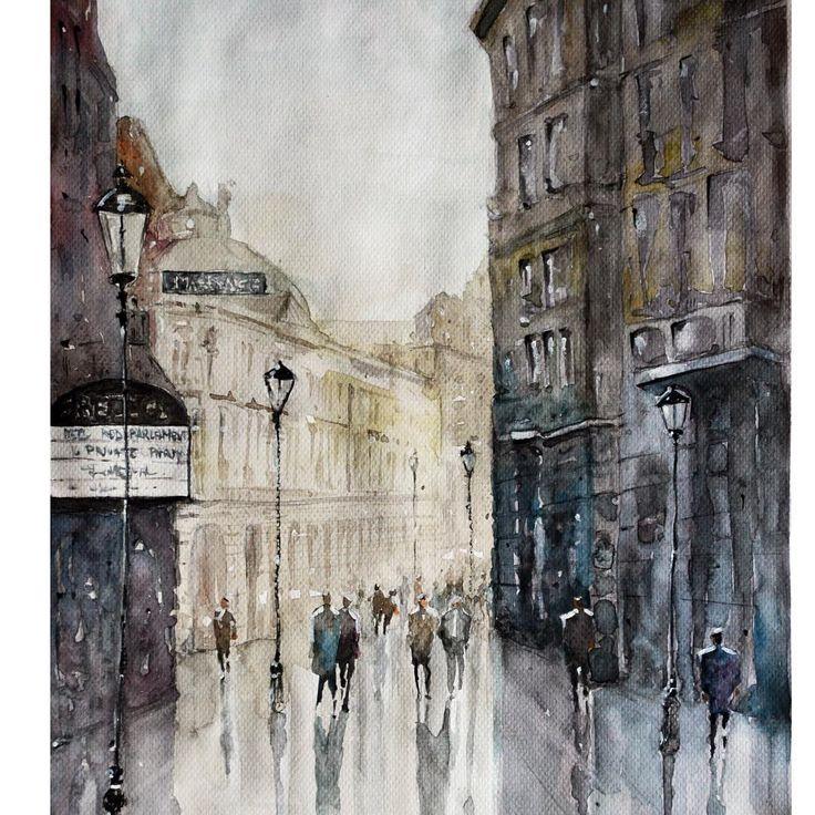 Bucharest Street Watercolor painting by Maria Cornea