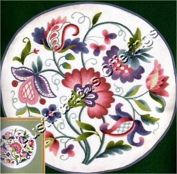 "Vintage elsa williams jacobean ""the queen's garden"" crewel embroidery kit"