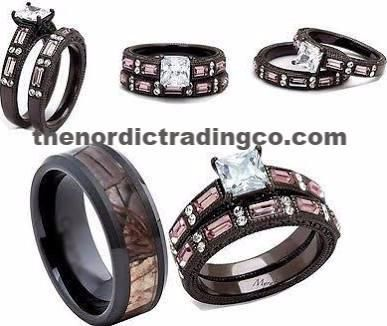 Camouflage Wedding Ring Set Menu0027s Band 7 14 Brides Engagement Ring Womenu0027s  5 11 Hunteru0027s Rustic Camo Rings