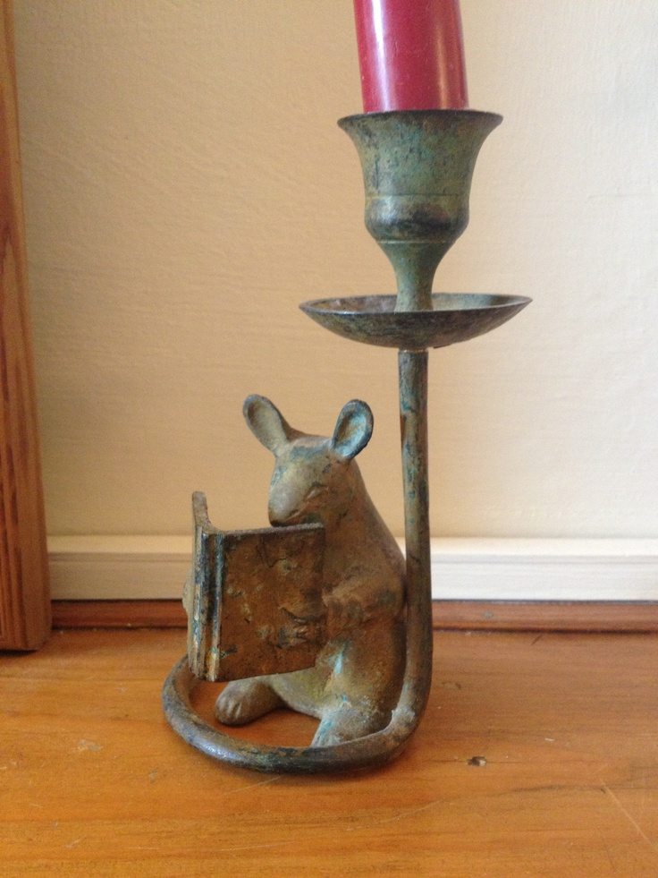 Vintage reading mouse candlestick holder  Bought at a carboot sale for £1.50  I LOVE HIM!