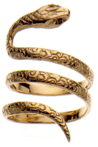 Gold Snake Ring, Set with Black Diamonds
