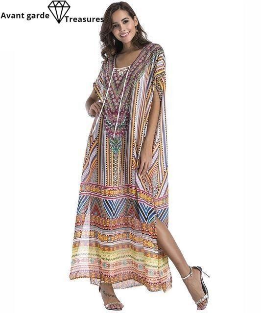 0405c664a34b Women Summer Boho Beach Kaftan Dress Bohemian Floral Print Loose Split  Vintage Ethnic Robe Femme Long Maxi Dresses Plus Size