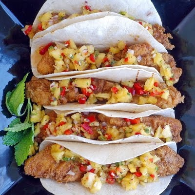 Spicy Cod tacos with pineapple and lemon balm salsaSpicy Cod, Photography Family, Family Meals, Food Photography, Balm Salsa, Cod Tacos, Fish Tacos Salsa, Lemon Balm, Tacos Recipe