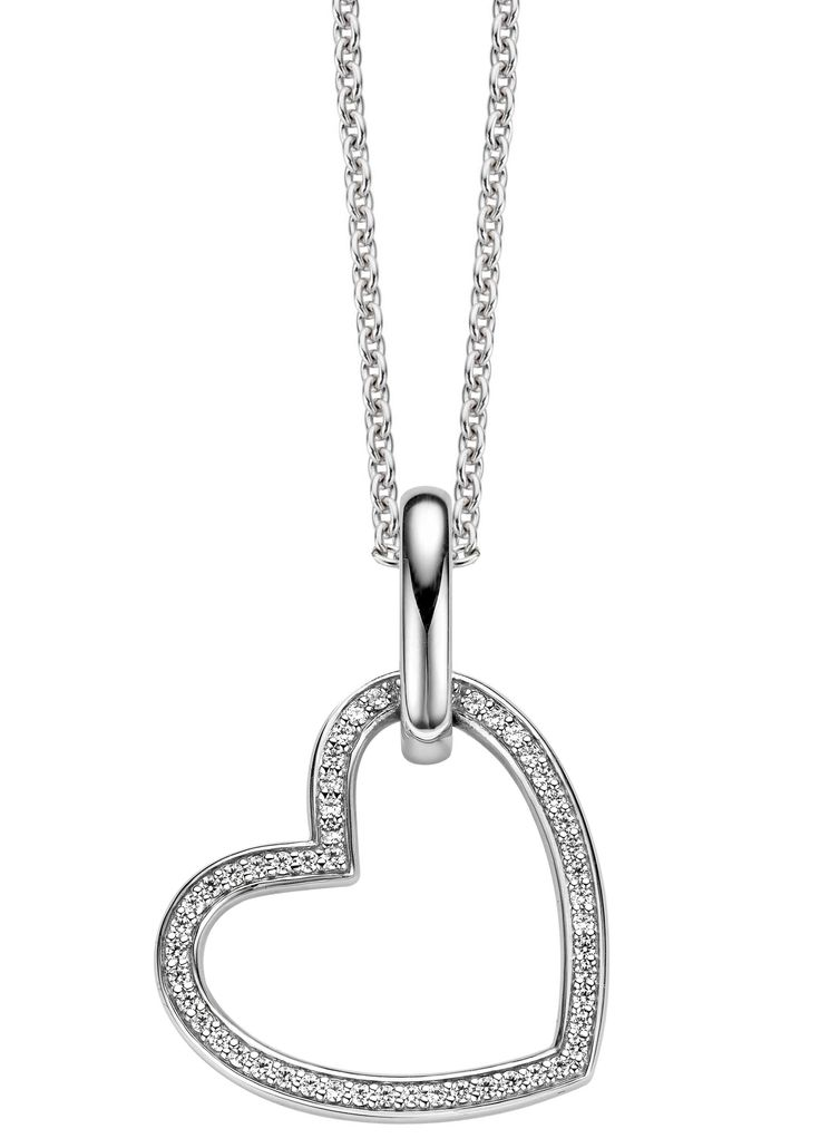 TI SENTO HEART PENDANT WITH CLASSIC SILVER CHAIN £180.00  A stunning rhodium plated sterling silver pendant set with cubic zirconia. #tisento #necklace