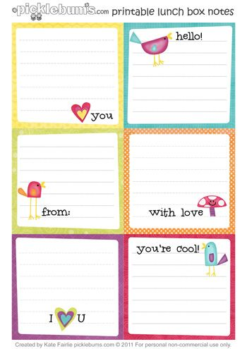 {Printable Lunch Box Notes} sure to make any lunch sweeter -- great ideas for what to write on your lunch box notes too!: