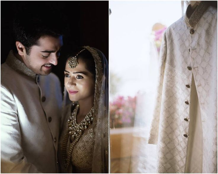 A delicately embroidered white sherwani for Groom Vanraj Zaveri of WeddingSutra. Photos Courtesy- The House of Pixels #WeddingSutra #groom #indiangrooms #wedding #indianwedding #Indian #sherwani #ivory