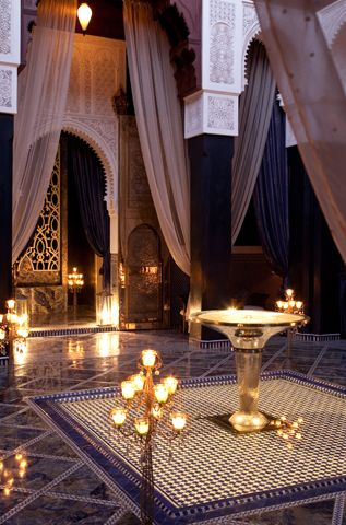 Royal Mansour, Marrakech; the drama is in the height of the room and the dramatic drapery.