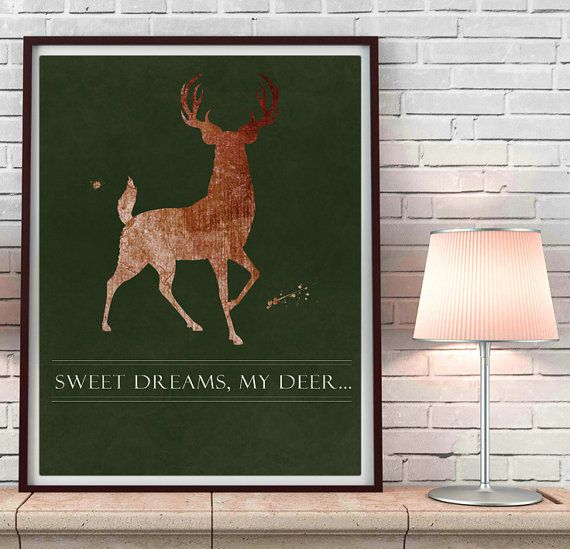 Rustic Deer Nursery, hunter green and brown watercolor, Stag Deer art print, country decor