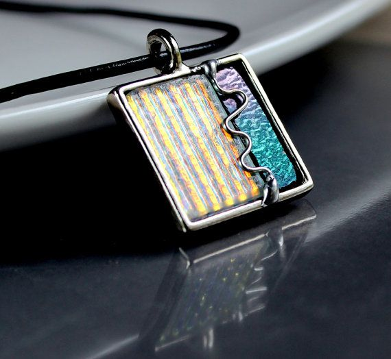 OOAK Dichroic and Wire Pendant  Stained Glass Jewelry by LAGlass, $31.00