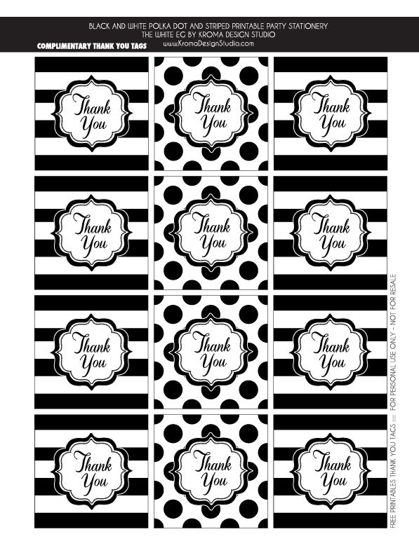 FREE THANK YOU TAGS - Black and white party ideas | Kate Spade Inspired DIY Party and Stationery - great for bridal showers, office party, or birthday soiree