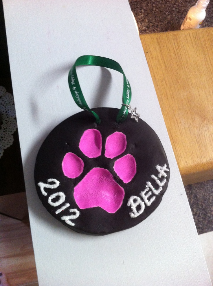 Why not remember you baby the proper way. Christmas ornament using your Dog's paw print. Just follow the steps below: 1. Using baking clay, get it smooth and in the shape you want. 2. Clean paw or child's hand. And dry. 3. Firmly press the paw or hand into the clay. 4. Using a tool or toothpick, make two holes. You can even write the name and date if you wish. 5. Bake in oven at 275 for 30 minutes. 6. Allow to cool and decorate if wanted. 7. Attach ribbon and hang to enjoy!