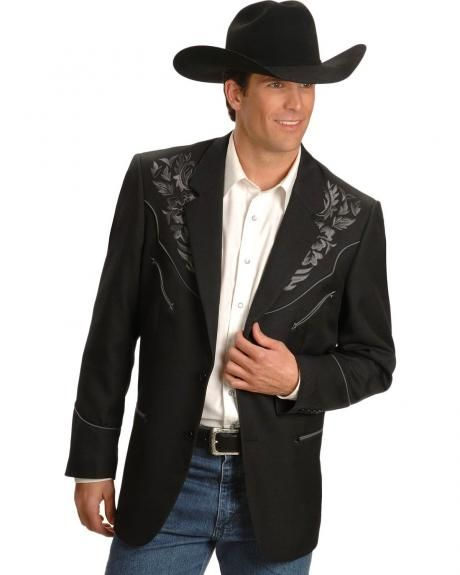 Scully Grey Floral Embroidery Black Western Jacket.  I wear a 42R in suit jackets.