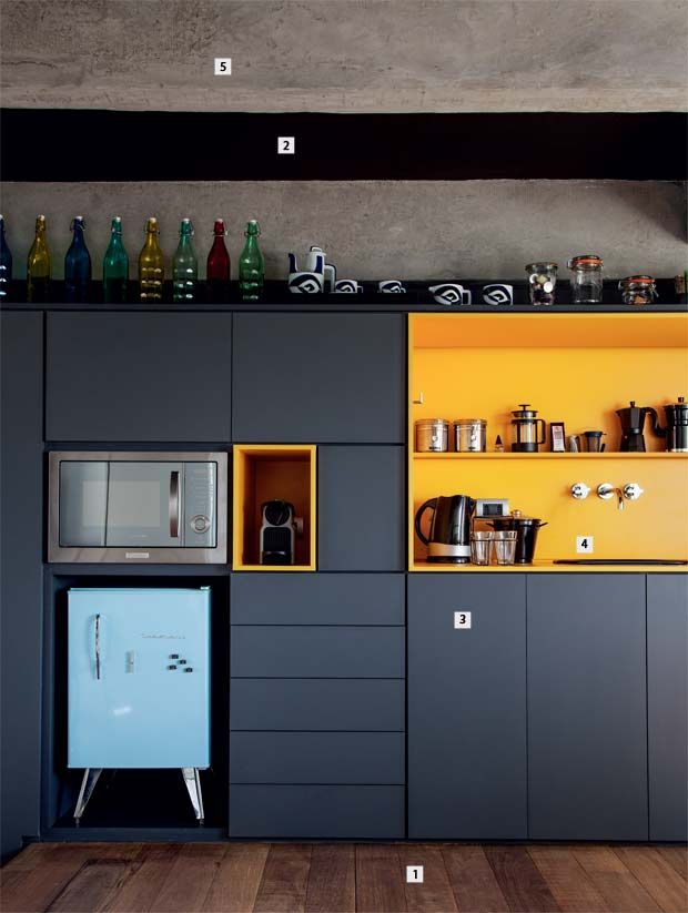black and yellow kitchen