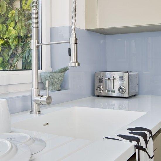 Green and blue metro tile splashback | Practical kitchen splashbacks that look great too | housetohome.co.uk