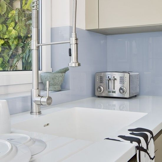 Green and blue metro tile splashback | Practical kitchen splashbacks that look great too | housetohome.co.uk
