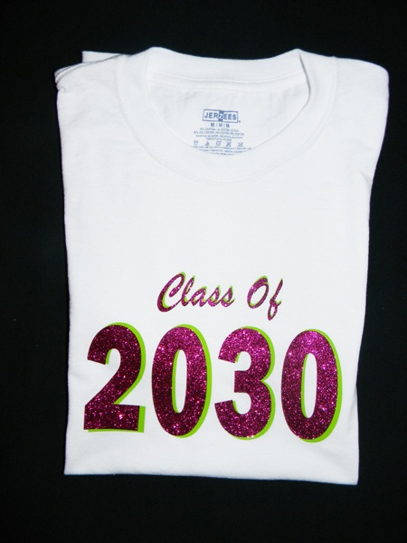 Class Of T-Shirt that was used with Apple Green ThermoFlex Plus and Hot Pink SuperGlitter vinyl!