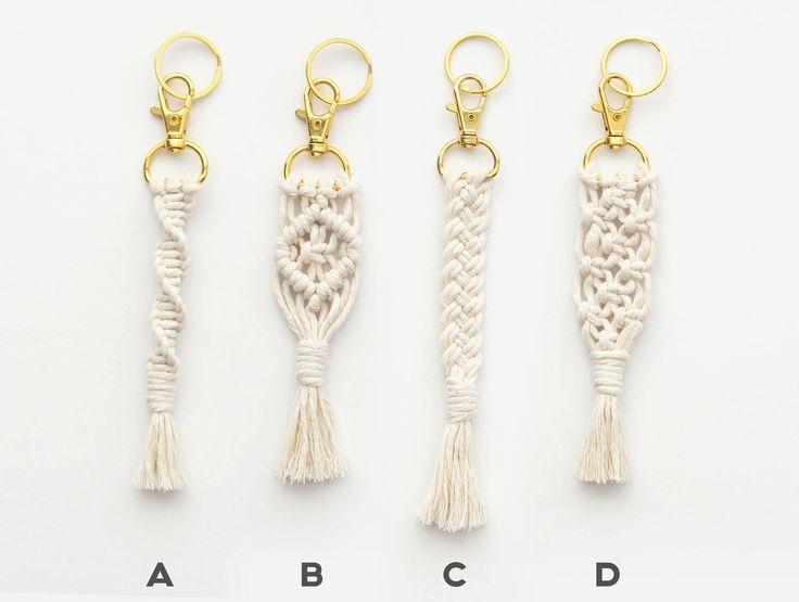 Algodón blanco cordón Macrame llavero con gancho rápido giratorio oro