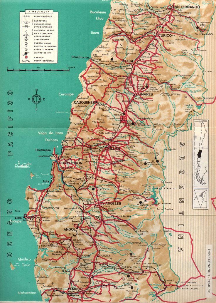 Mapa de San Fernando a Temuco. Chile Guía Turística ´70. Ferrocarriles del Estado