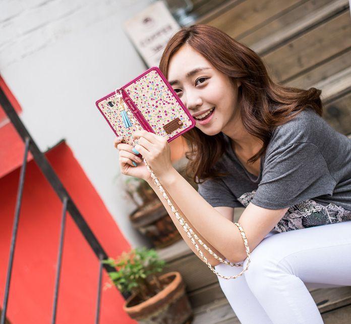 Lovely Flower Daisya Handmade Wallet Case for Galaxy S6 Edge Plus