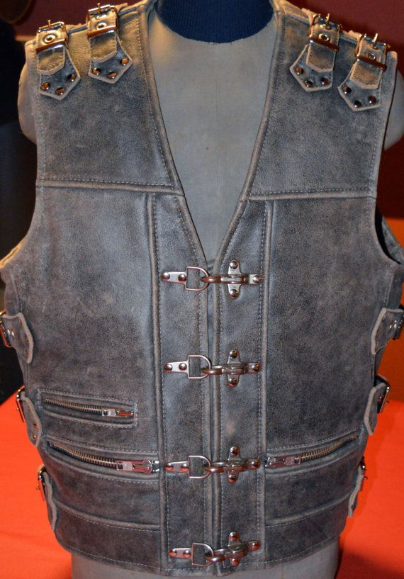 Thick GREY genuine leather, Hard gear, top quality handmade Biker vest, Motorcycle vest.  by MPBikerTailor
