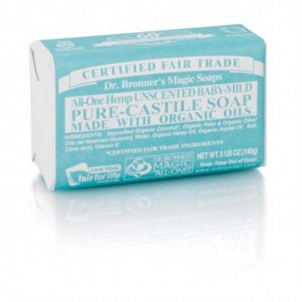 Dr. Bronner's Unscented Baby-Mild Castile Bar Soap contains no fragrance and replaces it with double the olive oil, so it is great for people with allergies or sensitive skin.