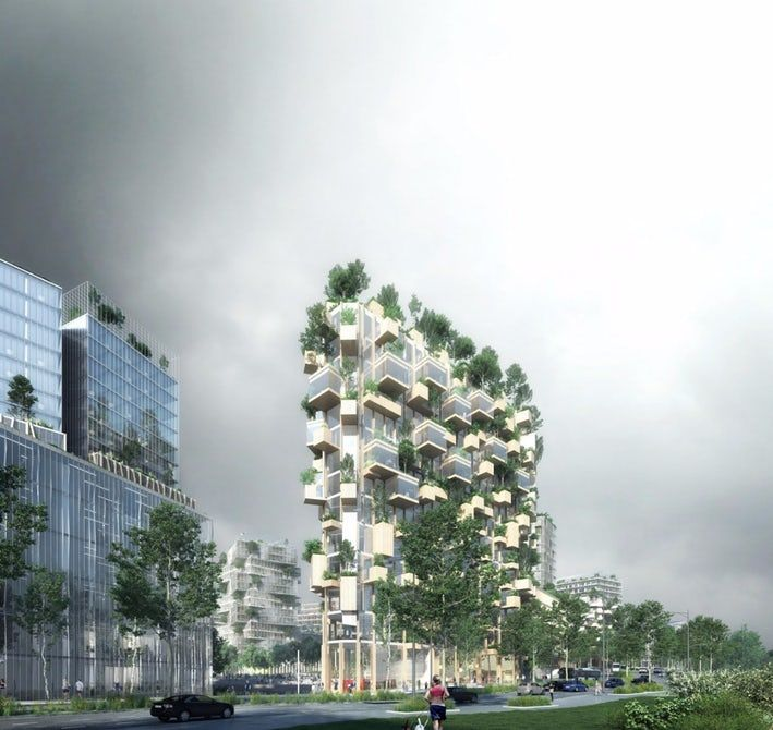 #France's 1st forest tower with 2,000 plants. Silly #Architecture, but still interesting.