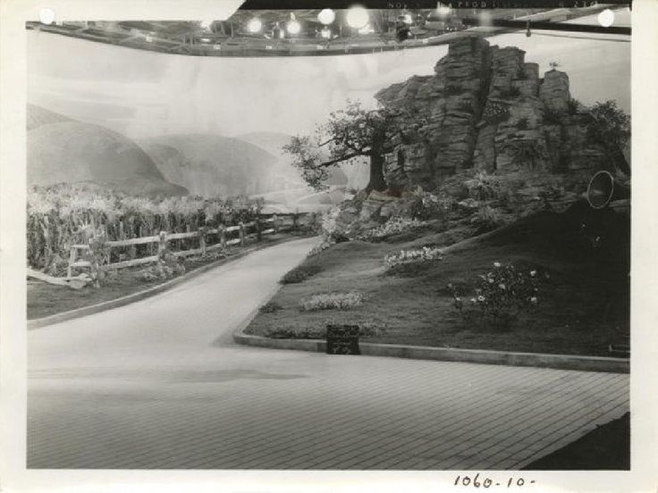 """What??? You mean the Yellow Brick Road wasn't real? Apparently not, Dorothy. It was all just a dream. This is a production shot from the set of MGM's """"The Wizard of Oz"""" (1939) showing us the road where Dorothy met the Scarecrow. (The """"1060"""" at the bottom refers to the films official studio production number.) It still amazes me that this movie didn't even recoup its budget upon its original release: cost: $3,700,000, box office: $3,017,000."""