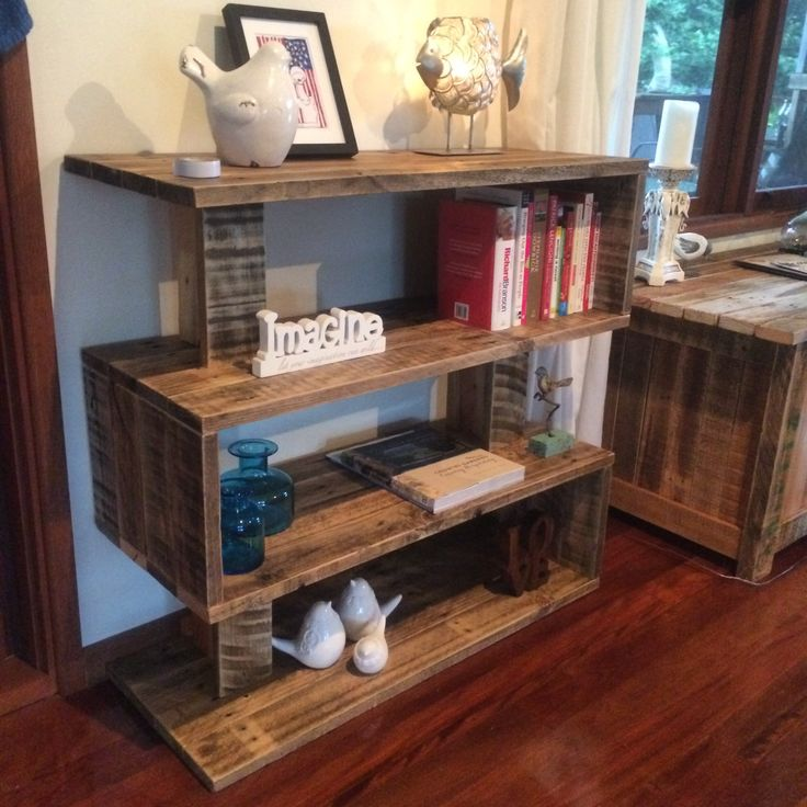 custom shelves made by pallet life out of recycled pallets. Black Bedroom Furniture Sets. Home Design Ideas
