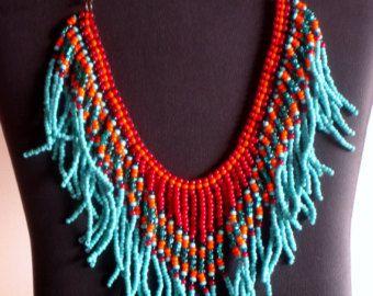 Nativos americanos beadweaving collar en turquesa, verde azulado, rojo oscuro y naranja                                                                                                                                                                                 Más