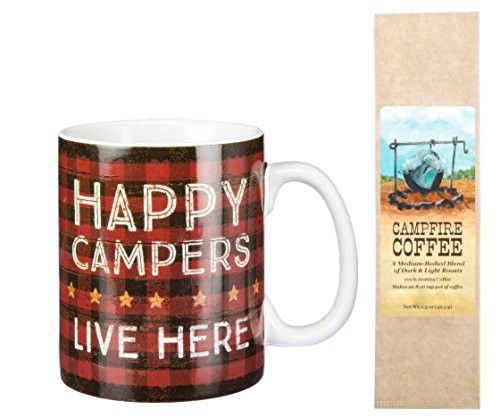 Happy Campers Live Here Plaid Mug with Campfire Coffee Gift Set Bundle (2 Items)