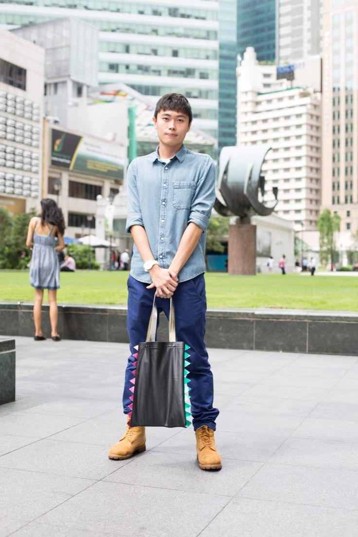 YESAH x SHENTONISTA: Boy About Town: Mervy, Industrial Designer, Shirt & Pants from Topman, Bag (YES Tote) from Yesah.  #shentonista #theuniform #singapore #fashion #streetstyle #style #ootd #shentonway #men #yesah #lindahao #topman #timberland #swatch #prettyboy #hiking #pistachio