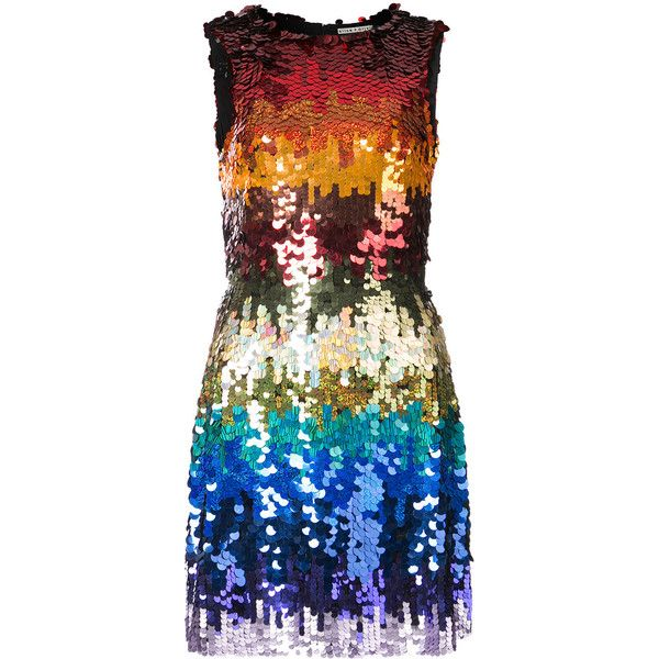 Alice+Olivia rainbow sequin dress ($1,085) ❤ liked on Polyvore featuring dresses, multicolour, rainbow dresses, sequin cocktail dresses, multi color sequin dress, short dresses and sleeveless cocktail dress