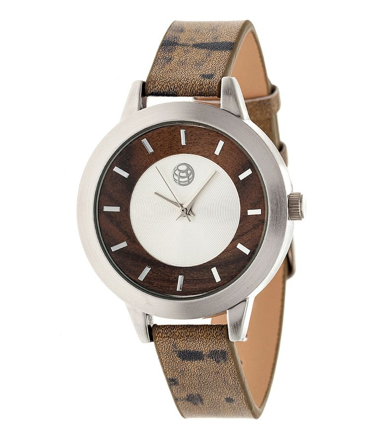 Another great find on #zulily! Silver & Dark Brown Autumn Leather-Strap Watch by EARTH wood watches #zulilyfinds