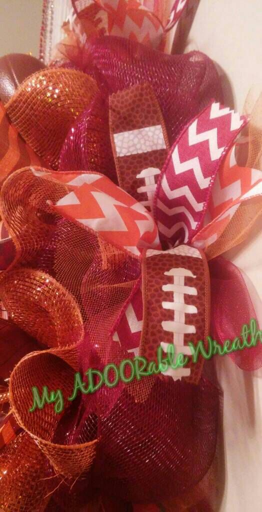 Check out this item in my Etsy shop https://www.etsy.com/listing/271296287/virginia-tech-hokies-wreath-deco-mesh