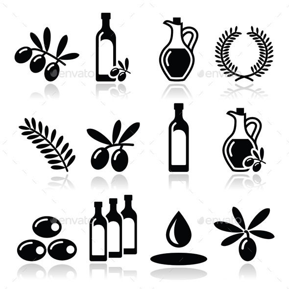 Olive Oil and Olive Branch Icons Set