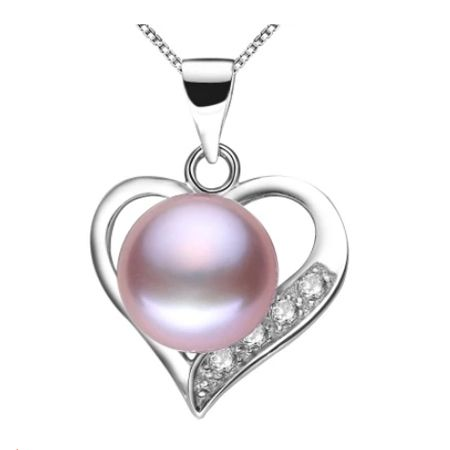 Lovely heart pendant necklace 100% genuine natural freshwater pearl necklace&pendant for women white/pink/purple three color Dressional #dressional
