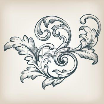 acanthe: vintage frame de conception de défilement Baroque Gravure acanthe floral élément de motif de frontière filigrane vecteur de style rétro
