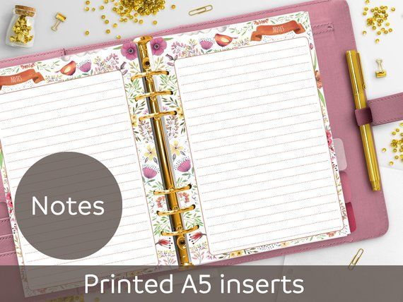 photograph about Cute Planner Refills titled Published A5 Notes Planner Inserts, Planner Refill, Memo, Purple