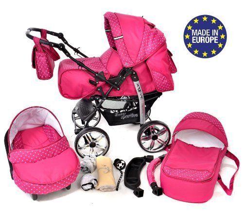 Baby Sportive - Sistema de viaje 3 en 1, silla de paseo, carrito con capazo y silla de coche, RUEDAS ESTÁTICAS y accesorios, color fucsia  #carritosbebeorg