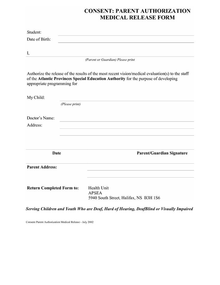 Medical Record Releases Consent Forms CONSENT PARENT - parental release form