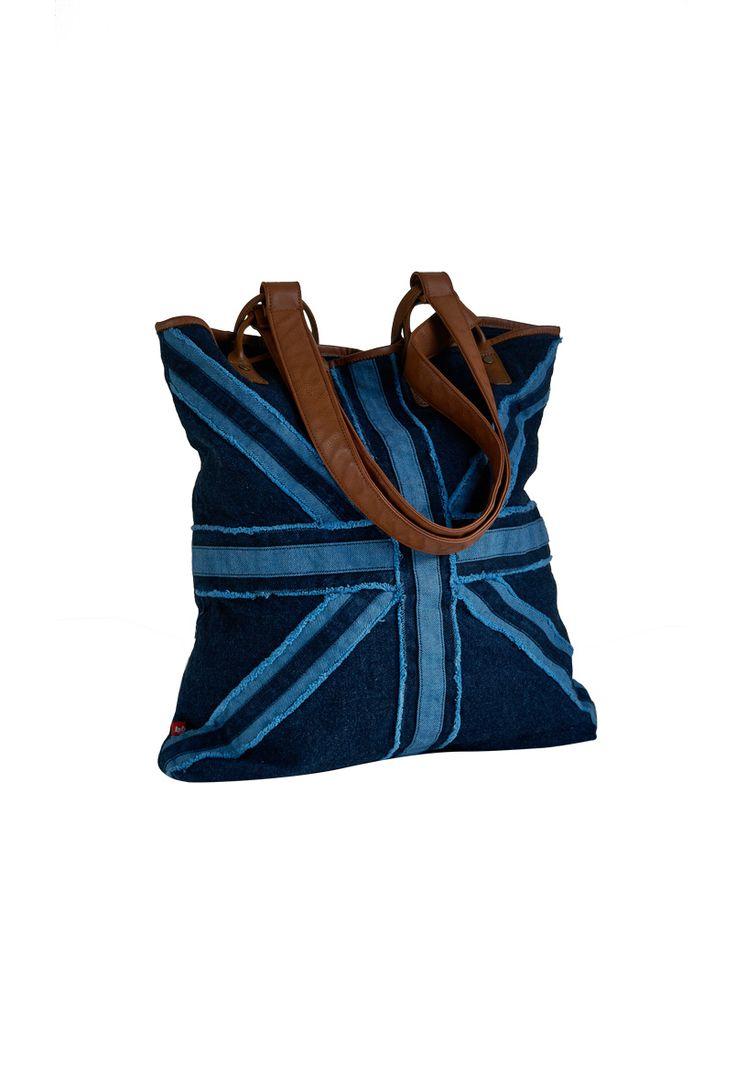 Denim large tote bag, PRIMROSE.