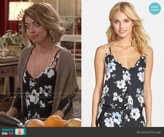 Haley's black floral cami on Modern Family.  Outfit Details: http://wornontv.net/53136/ #ModernFamily