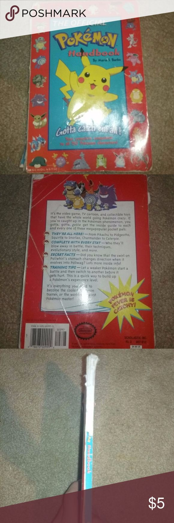*VINTAGE* Official Pokemon Handbook! 151 Pokemon! Old school pokemon handbook! In poor condition but all the pages are present! Book is beat up a bit :( Pokemon Accessories Belts