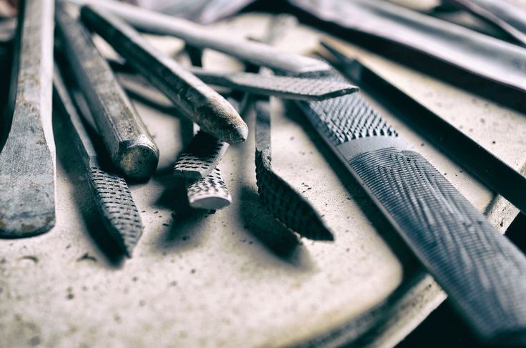 A few basic tools of the trade....chisels, rasps and rifflers.