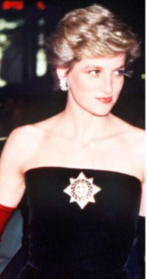 Diana wasn't the only royal costume jewellery customer. Astonishingly, the avant-garde military-style star brooch was bought for Diana by Charles, who picked it up at a Butler & Wilson concession in Marshall Field's department store in Chicago in 1986. Diana waited just a month before debuting the £48 token, boldly pinned to the centre of her Murray Arbeid dress.